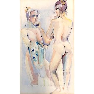Vintage 2 Figured Female Nude Original Watercolor Signed For Sale