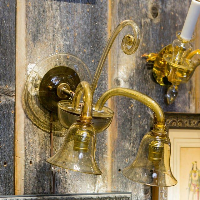 Single Amber-Color Glass Sconce For Sale In Houston - Image 6 of 7