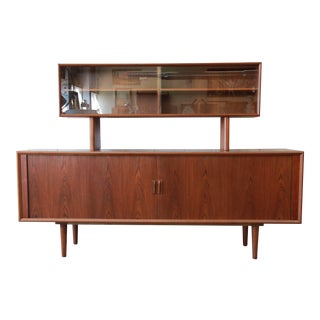 Ib Kofod-Larsen for Faarup Møbelfabrik Danish Modern Teak Credenza with Hutch For Sale