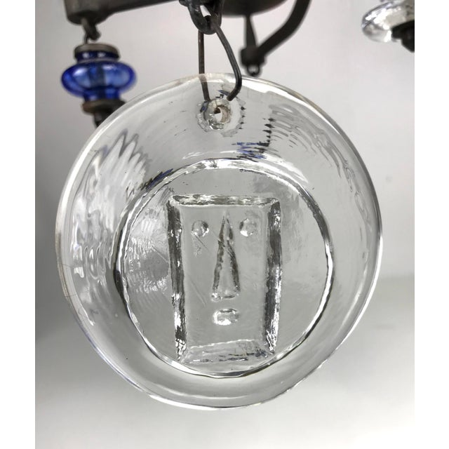 Boda Nova Glassworks Erik Hoglund Mid Century Swedish Art Glass Chandelier For Sale - Image 4 of 9