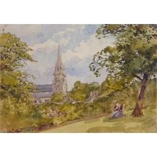 Edensor Chatsworth, Antique Watercolor Landscape - Derbyshire, England For Sale