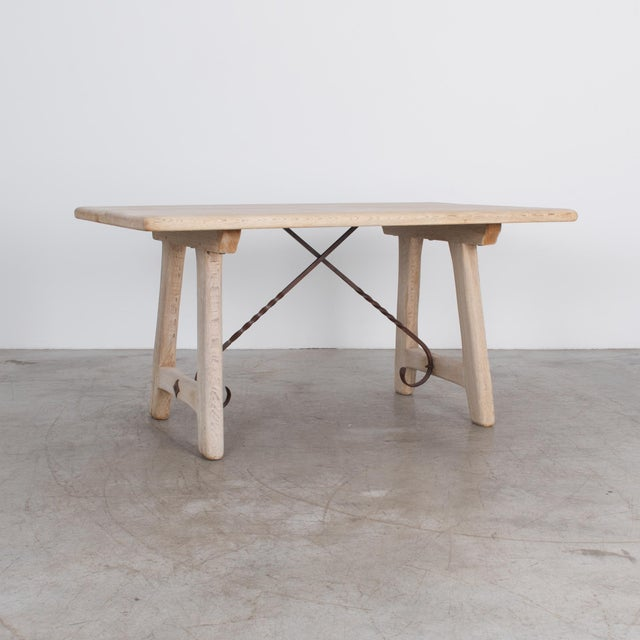 Belgian 1950s Belgian Oak Dining Table For Sale - Image 3 of 4