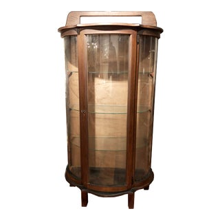Traditional Curved-Glass Cabinet With Glass Shelves For Sale