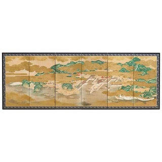 Japanese Six Panel Kano School Style Screen For Sale