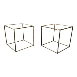 Geometric Faux Bamboo End Tables - a Pair