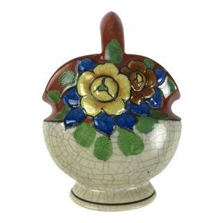 1920s Asian Antique Porcelain Flower Basket Bowl For Sale