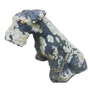 Vintage Concrete Painted Schnauzer Dog For Sale