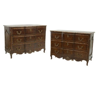 One Pair of Louis XV Style Commodes With Painted and Gilt Finish Bronze Hardware For Sale