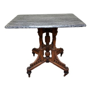 Early 19th Century Eastlake Victorian Walnut Marble Top Parlor Table For Sale