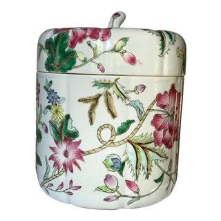 Floral Ceramic Lidded Jar For Sale