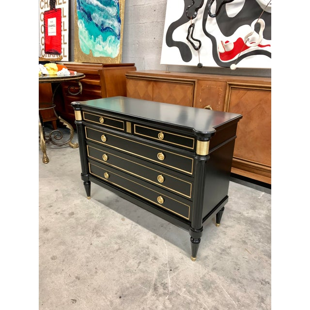 Black French Louis XVI Style Maison Jansen Commode Circa 1910's For Sale - Image 8 of 13