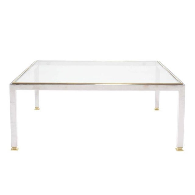 Large Square Chrome and Brass Mid-Century Modern Coffee Table For Sale In New York - Image 6 of 6