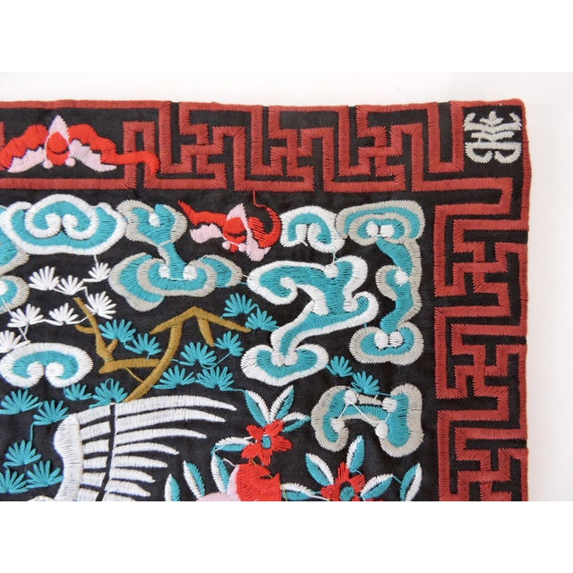 Asian Oriental Embroidered Crane Lamp Mat For Sale - Image 3 of 4