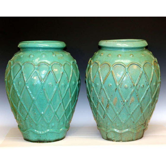 Art Deco Pair of Galloway Terracotta Company Urns For Sale - Image 3 of 8