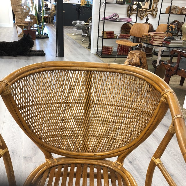 Mid 20th Century 4 Vintage Midcentury Rattan Chairs For Sale - Image 5 of 9