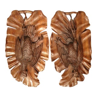 Early 20th Century French Carved Black Forest Walnut Pheasant Trophies - a Pair For Sale