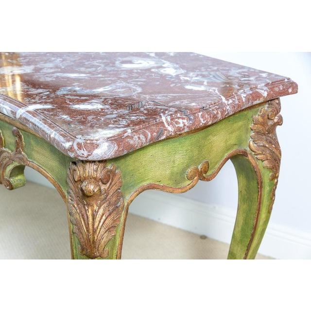 Late 19th Century Antique Painted & Parcel Gilt Louis XV Style Console Table With Marble Top For Sale - Image 5 of 12