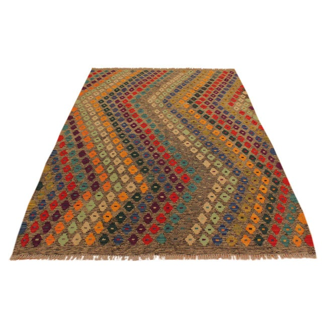 Tribal Abstract Southwestern Tribal Manuel Gray/Blue Hand-Woven Kilim Wool Rug -5'0 X 6'8 For Sale - Image 3 of 8