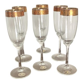 Vintage Italian Champagne Glasses With Gilt Band - Set of 6 For Sale