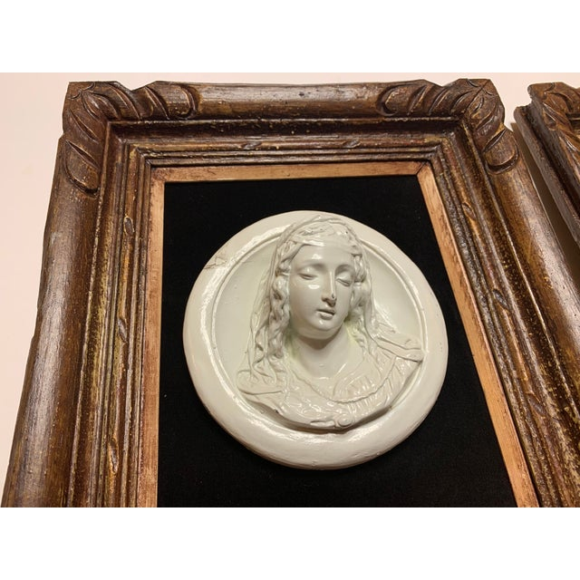 19th Century Glazed Chalkware Wall Mounting High Relief Bust Cameos - a Pair For Sale In Los Angeles - Image 6 of 13