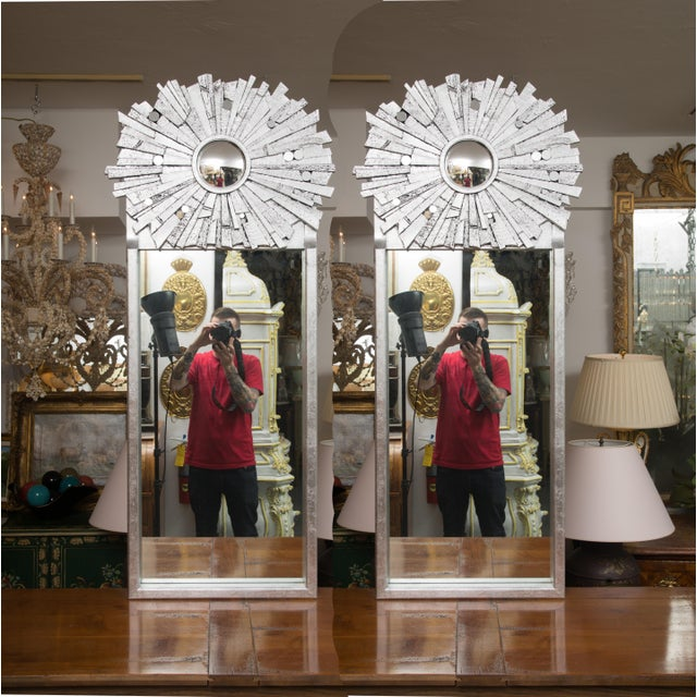 Silver Pair of Contemporary Silvered Sunburst Mirror For Sale - Image 8 of 8