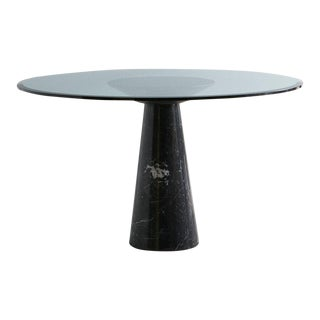 Nero Marquina Marble Dining Table With Glass Top by Angelo Mangiarotti For Sale