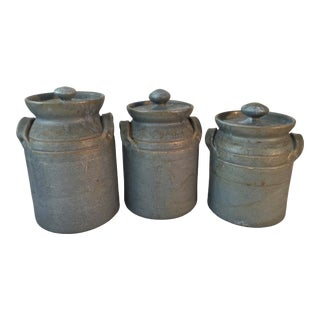 1960s Vintage Seagrove Pottery Signed Canisters - Set of 3 For Sale