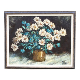 Large 1960s Vintage Botanical Floral Still Life Original Oil Painting by Joseph Duv For Sale