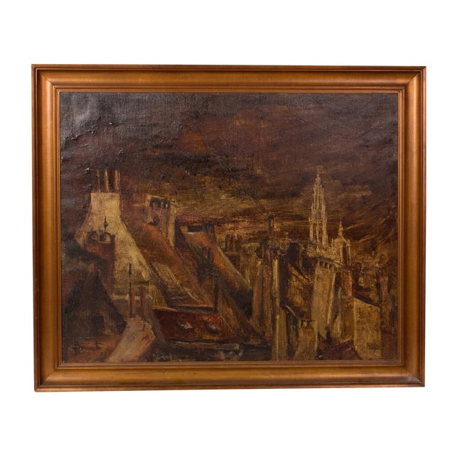 Oil Landscape Painting of Belgian Town in Gilt Frame Circa 1890 For Sale