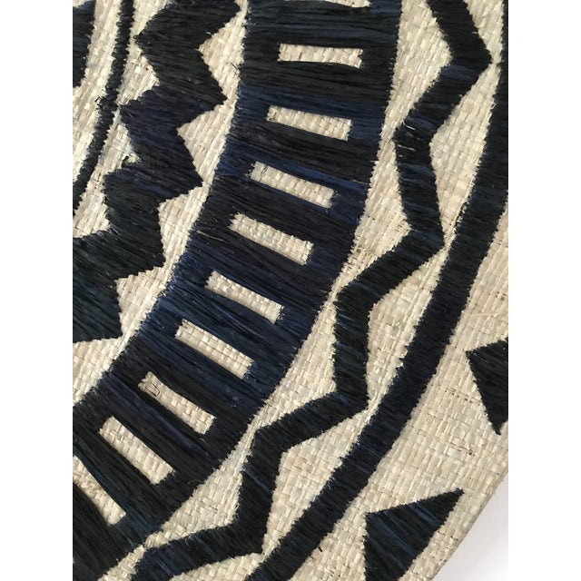 2010s Tribal Chic Round Grasscloth Mirror For Sale - Image 5 of 6
