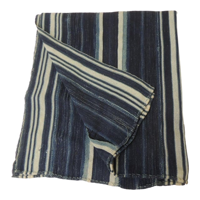 Vintage Yoruba and Baule Warp Ikat Indigo and Light Blue Stripes Cloth For Sale