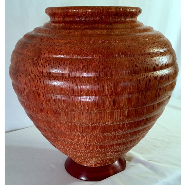Copper 1991 Boho Chic Large Artisan Turned Bloodwood Palm Beehive Vase by John Penrod (Signed) For Sale - Image 8 of 13