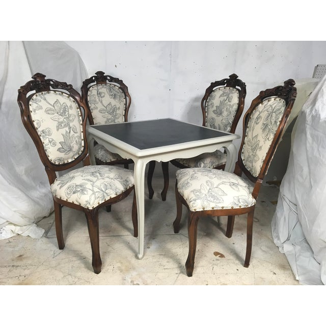 Antique French Game Table and Chairs - Set of 5 - Image 2 of 9