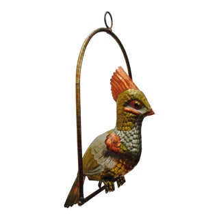 Sergio Bustamante Mid-Century Modern Copper Brass Parrot Hanging Sculpture For Sale