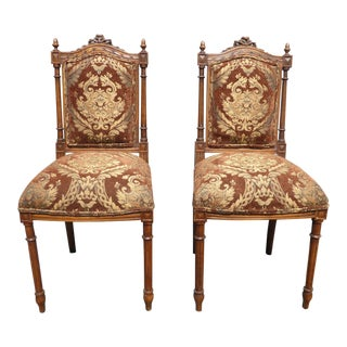 Vintage French Louis XVI Brown Accent Chairs ~ Ornately Carved Walnut- a Pair For Sale