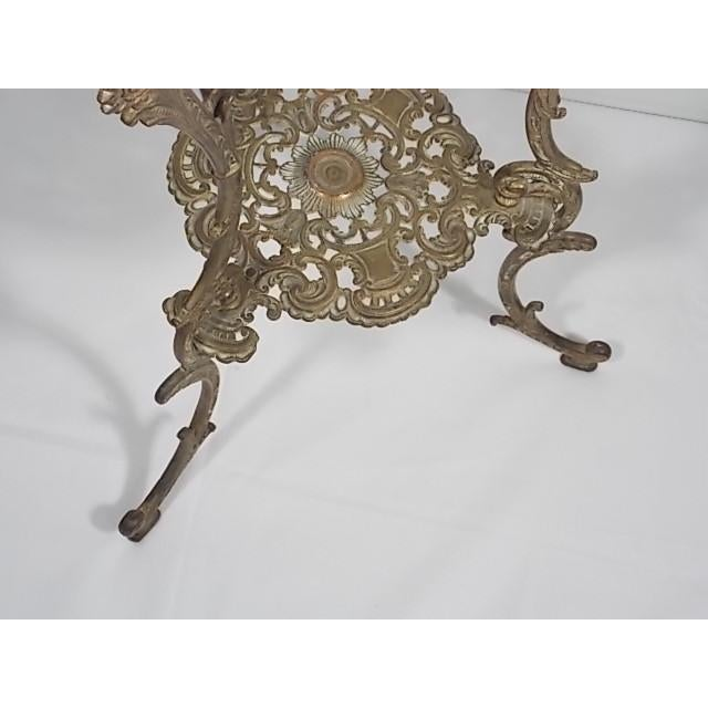 Brass Vintage Victorian Style Brass & Marble Top Filigree Stand For Sale - Image 7 of 10