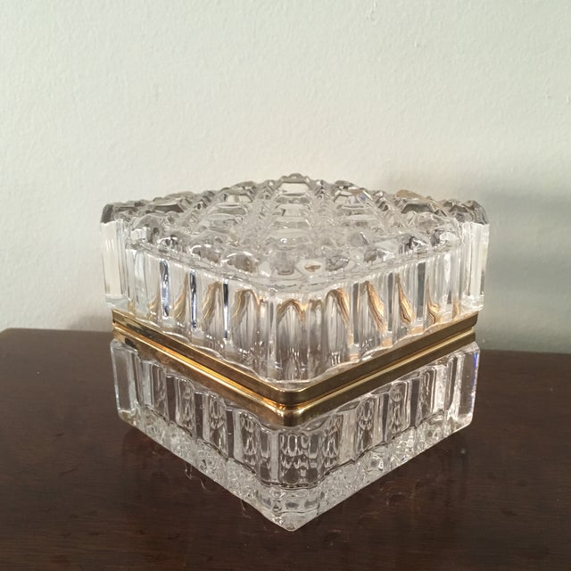 Beautiful vintage lead cut crystal hinged trinket box is the perfect addition for your vanity or coffee table. The box is...