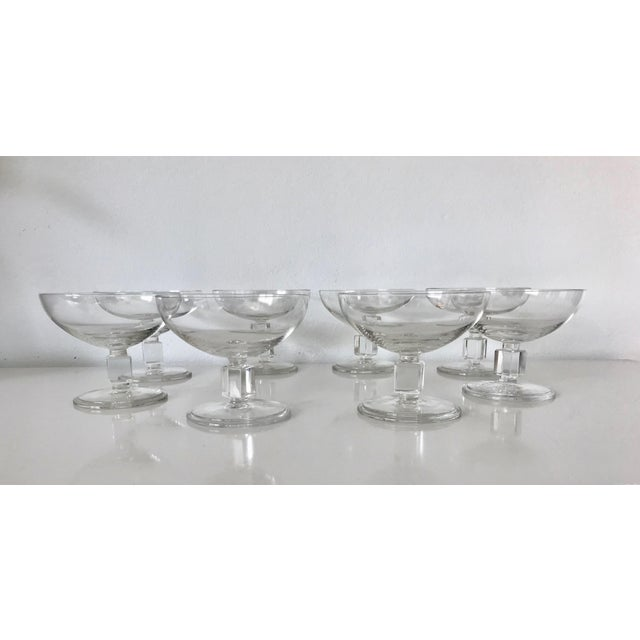 Vintage Mid-Century Nevel Cube Stem Crystal Coupe Champagne Glasses by Val St. Lambert - Set of 8 For Sale - Image 10 of 10