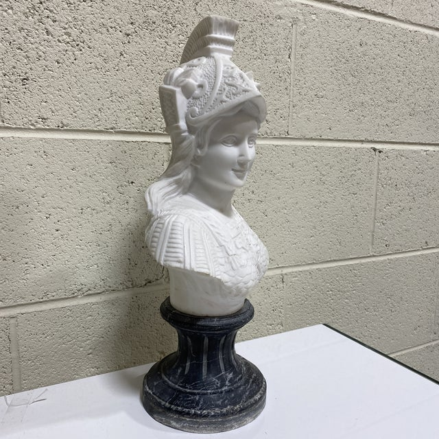 Hollywood Regency Greek Goddess Athena Marble Bust For Sale - Image 3 of 12
