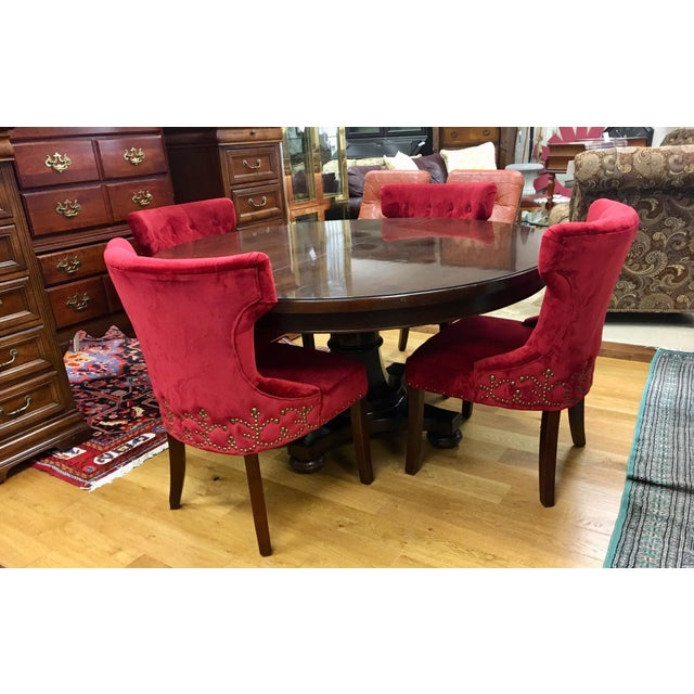 Bernhardt Dining Room Set Round Mahogany Table and Nailhead Chairs For Sale - Image 13 of 13