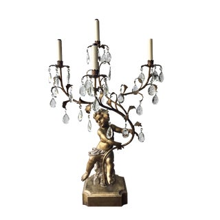 Hollywood Regency Gilt Tole Putti Candelabra Table Lamp For Sale