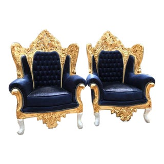 Baroque / Rococo Style Dark Blue Velvet Chairs - a Pair For Sale