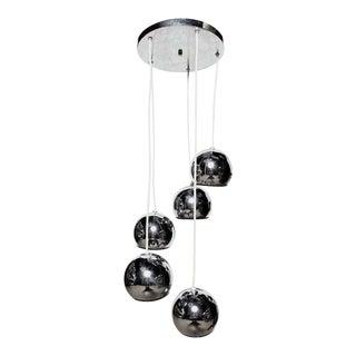 Vintage 1960s Mid-Century Goffredo Reggiani Five Chrome Globe Hanging Lamp For Sale