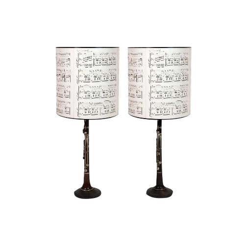 Pair of Clarinet Table Lamps With Antique Sheet Music Shades