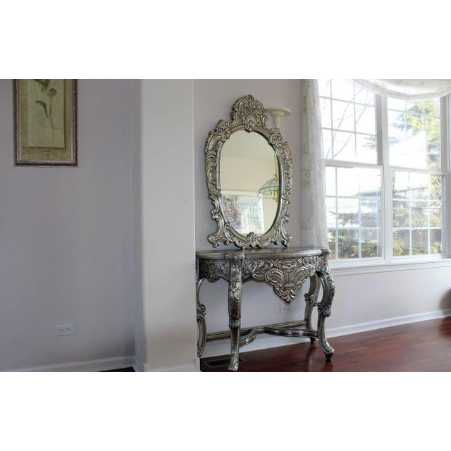 Blackened Silver Royal Dressing Table & Mirror - A Pair - Image 3 of 5
