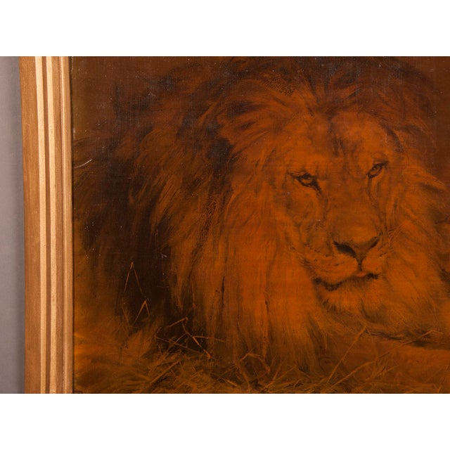 Canvas 1930s Gilded Framed Oil Painting of Lion For Sale - Image 7 of 7