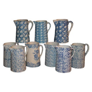 19th Century Sponge Ware Pitchers, Nine Pcs. Collection For Sale