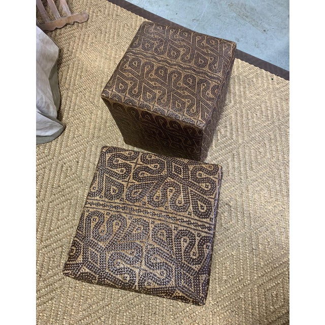 Early 21st Century Borneo Mat Ottomans- A Pair For Sale - Image 5 of 7