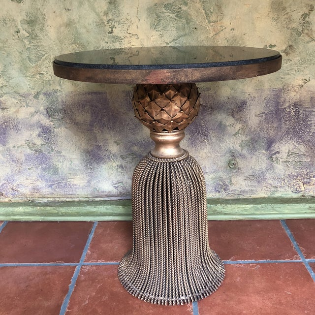 2010s Horchow Gold Tassel Ebony Granite Side Table For Sale - Image 5 of 12