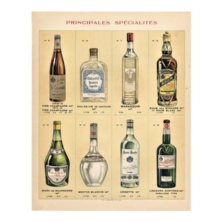 Matted French Alcohol Vintage Chromolithpgraph Print For Sale